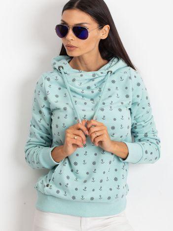 Miętowa bluza w marynarskie motywy