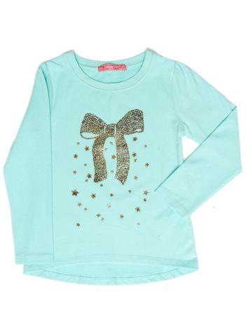 Miętowa bluzka dla dziewczynki z biżuteryjną kokardą