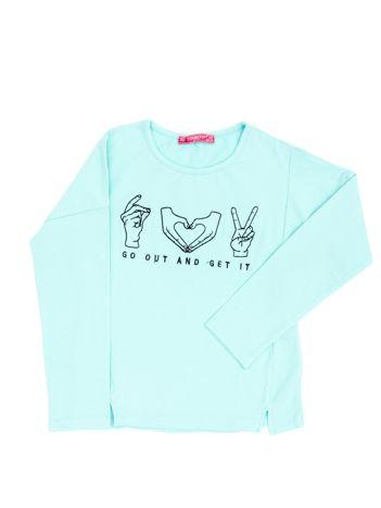 Miętowa bluzka dla dziewczynki z haftem
