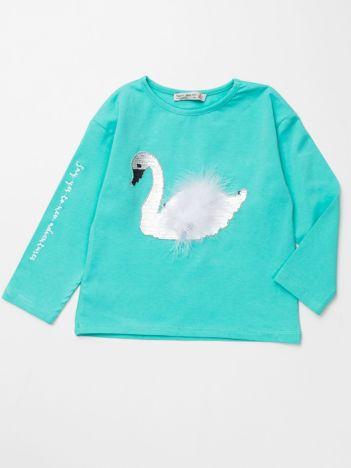 Miętowa bluzka dla dziewczynki z łabędziem