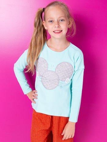 Miętowa bluzka dla dziewczynki z pikowaną wstawką