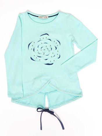 Miętowa bluzka dla dziewczynki z wypukłym kwiatem