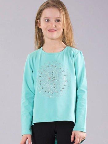 Miętowa bluzka dziewczęca z błyszczącą aplikacją