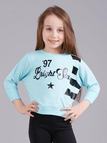 Miętowa krótka bluza z nadrukiem dla dziewczynki