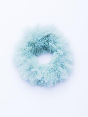 Miętowa puszysta gumka do włosów