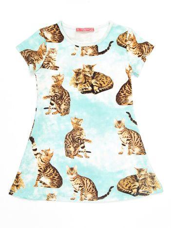 Miętowa sukienka dla dziewczynki w koty