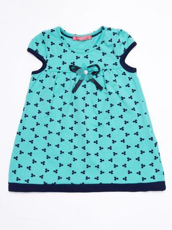 Miętowa sukienka dziecięca z nadrukiem all over