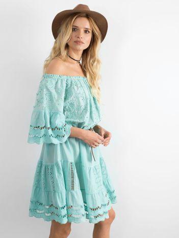 Miętowa sukienka hiszpanka boho