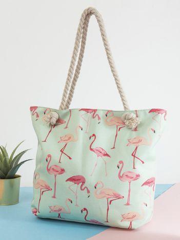 Miętowa torba z nadrukiem flamingów