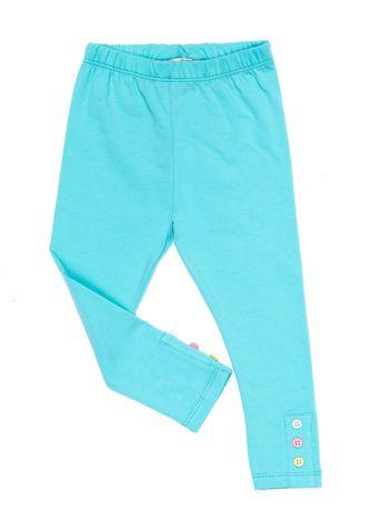 Miętowe legginsy dla dziewczynki z kolorowymi guzikami