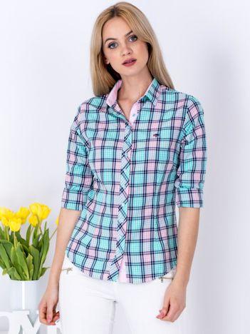 Miętowo-różowa koszula w kratkę