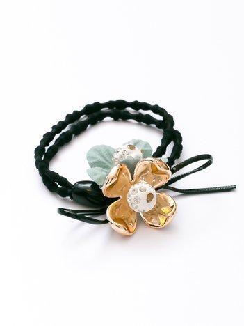 Miętowo-złota podwójna elegancka czarna gumka z kokardą i kwiatami
