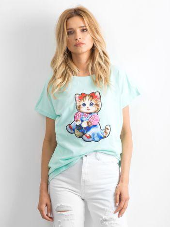 Miętowy luźny t-shirt Sweetness