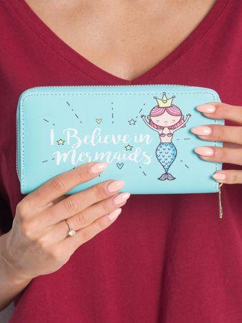 Miętowy portfel damski z nadrukiem