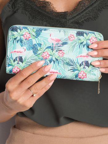 Miętowy portfel z printem