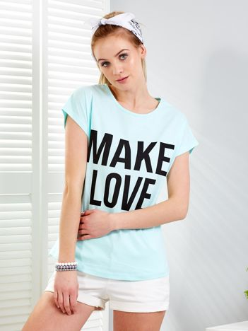 Miętowy t-shirt MAKE LOVE