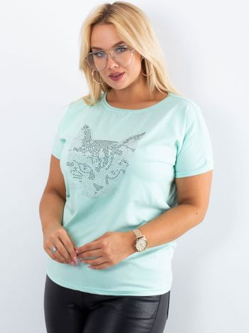 Miętowy t-shirt Moment PLUS SIZE