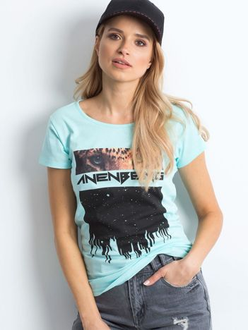 Miętowy t-shirt Sartorial