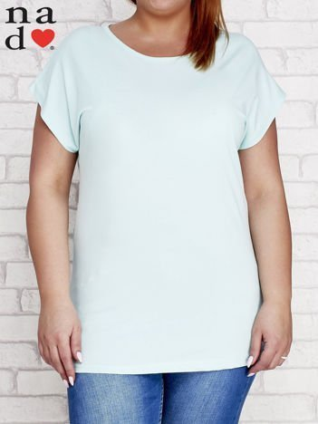 Miętowy t-shirt basic PLUS SIZE
