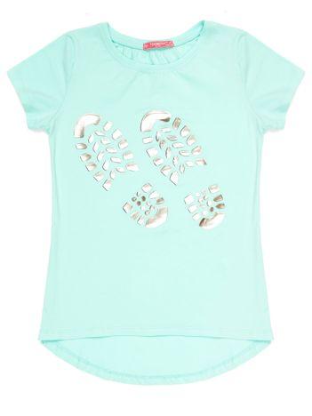 Miętowy t-shirt dziewczęcy z odciskiem buta
