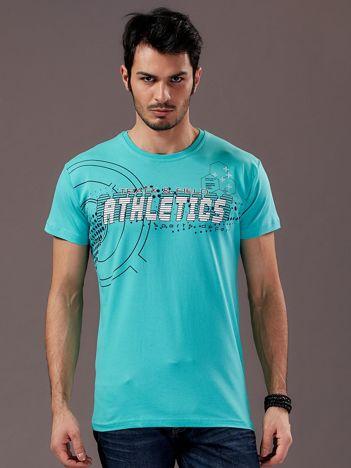 Miętowy t-shirt męski z motywem urban print