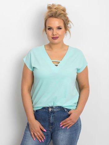 Miętowy t-shirt plus size Darlyne