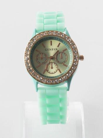 Miętowy zegarek z silikonowym paskiem