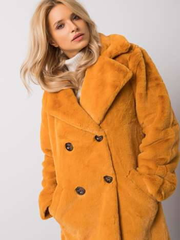 Miodowy płaszcz futrzany Robbie