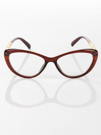Modne brązowe okulary zerówki typu KOCIE OCZY w stylu Marlin Monroe; soczewki ANTYREFLEKS