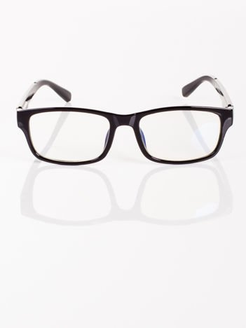 Modne czarne okulary zerówki KUJONKI NERDY; soczewki ANTYREFLEKS+system FLEX na zausznikach