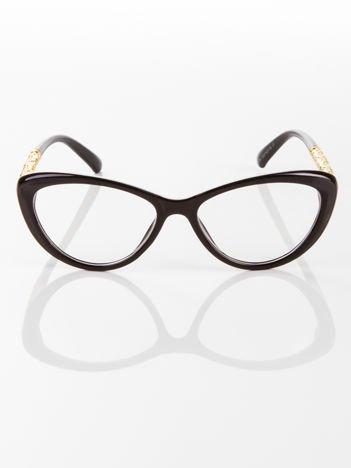 Modne czarne okulary zerówki typu KOCIE OCZY w stylu Marlin Monroe; soczewki ANTYREFLEKS