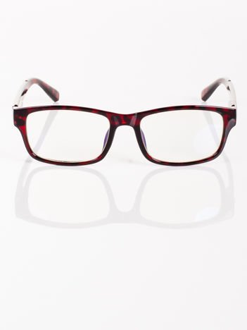 Modne czarno-czerwone okulary zerówki KUJONKI NERDY PANTERA; soczewki ANTYREFLEKS+system FLEX na zausznikach