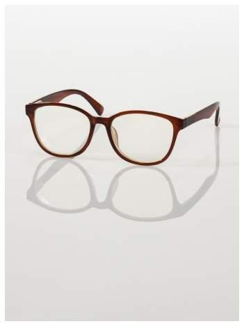 Modne czarno-czerwone okulary zerówki klasyczne - soczewki ANTYREFLEKS,system FLEX na zausznikach