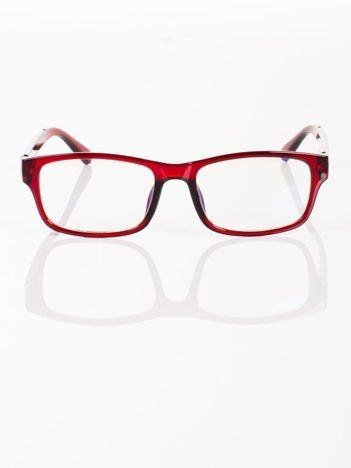 Modne czerwone okulary zerówki KUJONKI NERDY; soczewki ANTYREFLEKS+system FLEX na zausznikach