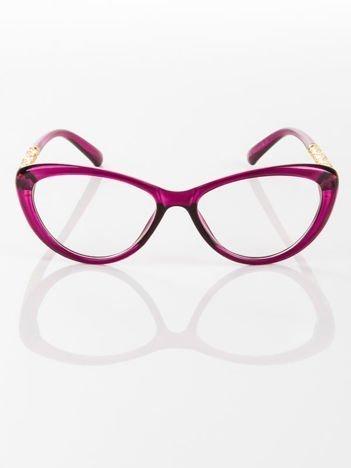 Modne fioletowe okulary zerówki typu KOCIE OCZY w stylu Marlin Monroe; soczewki ANTYREFLEKS