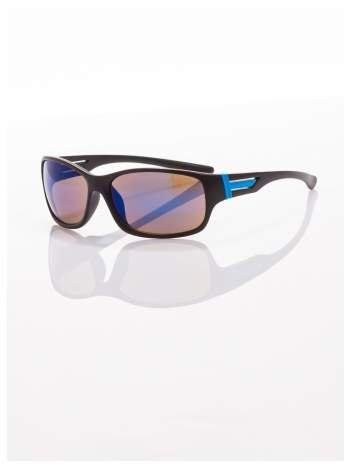 Modne męskie okulary przeciwsłoneczne w sportowym stylu czarno-niebieskie
