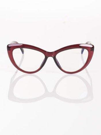Modne okulary zerówki KOCIE OCZY w stylu Marlin Monroe- soczewki ANTYREFLEKS+system FLEX na zausznikach