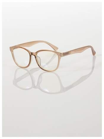 Modne okulary zerówki klasyczne - soczewki ANTYREFLEKS,system FLEX na zausznikach