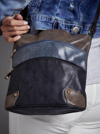 Modułowa torebka listonoszka z kieszeniami czarno-niebieska
