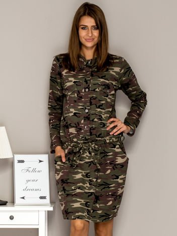 Moro sukienka dzienna z kołnierzykiem i wiązaniem