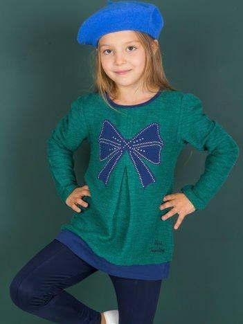 Morski sweter dla dziewczynki z naszywką