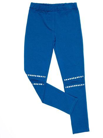 Morskie legginsy dla dziewczynki z aplikacją na kolanach