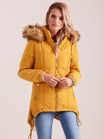 Musztardowa damska kurtka na zimę