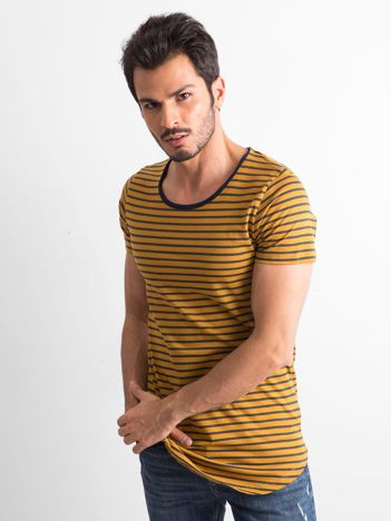 Musztardowa koszulka męska w paski