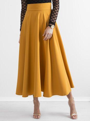 Musztardowa spódnica maxi w kontrafałdy