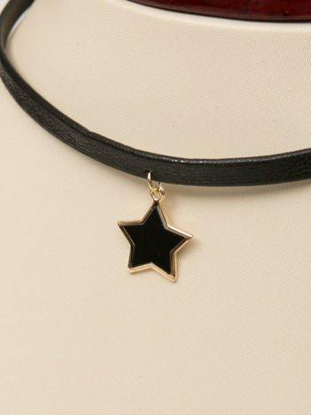 Naszynik czarny typu obroża ze złoto-czarną emaliowaną gwiazdką