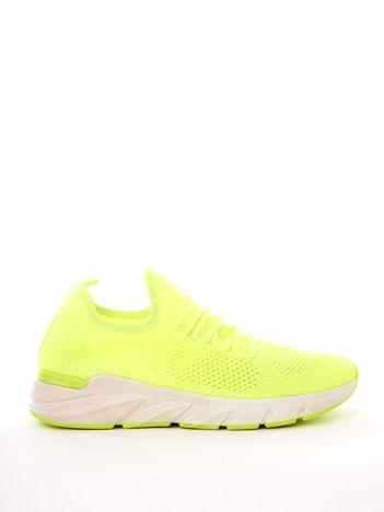 Neonowe żółte dzianinowe buty sportowe na profilowanej podeszwie