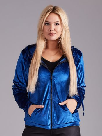 Niebieska aksamitna bluza z kapturem PLUS SIZE