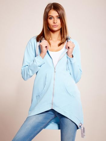 Niebieska asymetryczna bluza na suwak