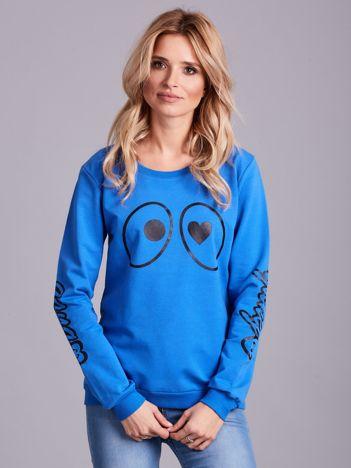 Niebieska bawełniana bluza z nadrukiem